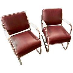 Restored Flexible Metal Two-Tone Art Deco Club Chairs