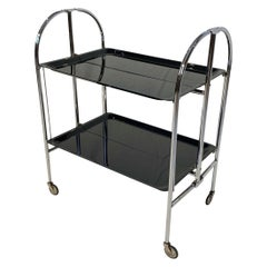 Restored, Foldable Art Deco Serving Trolley, Nickel and Black, France circa 1930