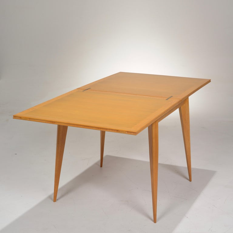 Restored French Mid-Century Modern Flip-Top Oak Dining Table For Sale 6
