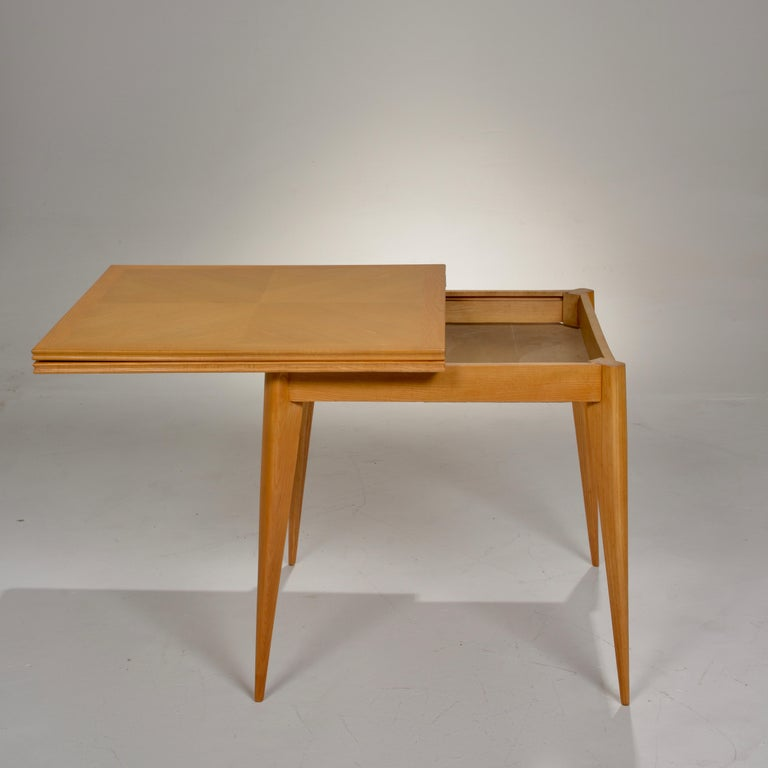 Restored French Mid-Century Modern Flip-Top Oak Dining Table For Sale 9