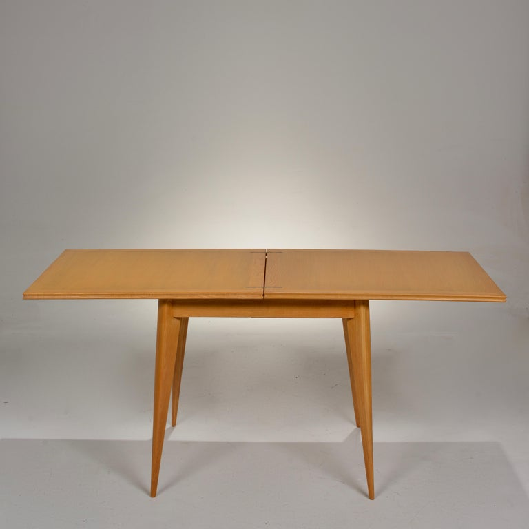 Restored French Mid-Century Modern Flip-Top Oak Dining Table For Sale 10