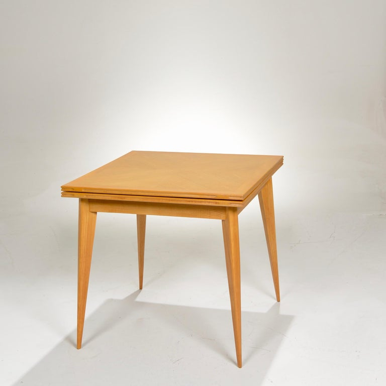 Lacquered Restored French Mid-Century Modern Flip-Top Oak Dining Table For Sale