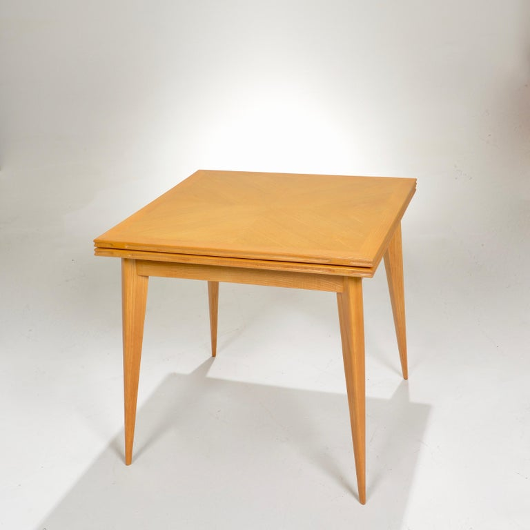 Restored French Mid-Century Modern Flip-Top Oak Dining Table In Excellent Condition For Sale In Los Angeles, CA