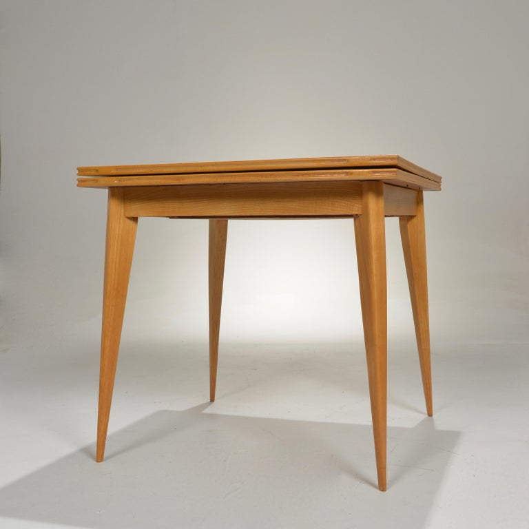 Restored French Mid-Century Modern Flip-Top Oak Dining Table For Sale 1