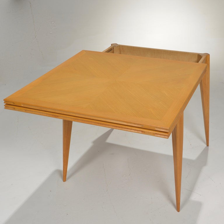 Restored French Mid-Century Modern Flip-Top Oak Dining Table For Sale 2