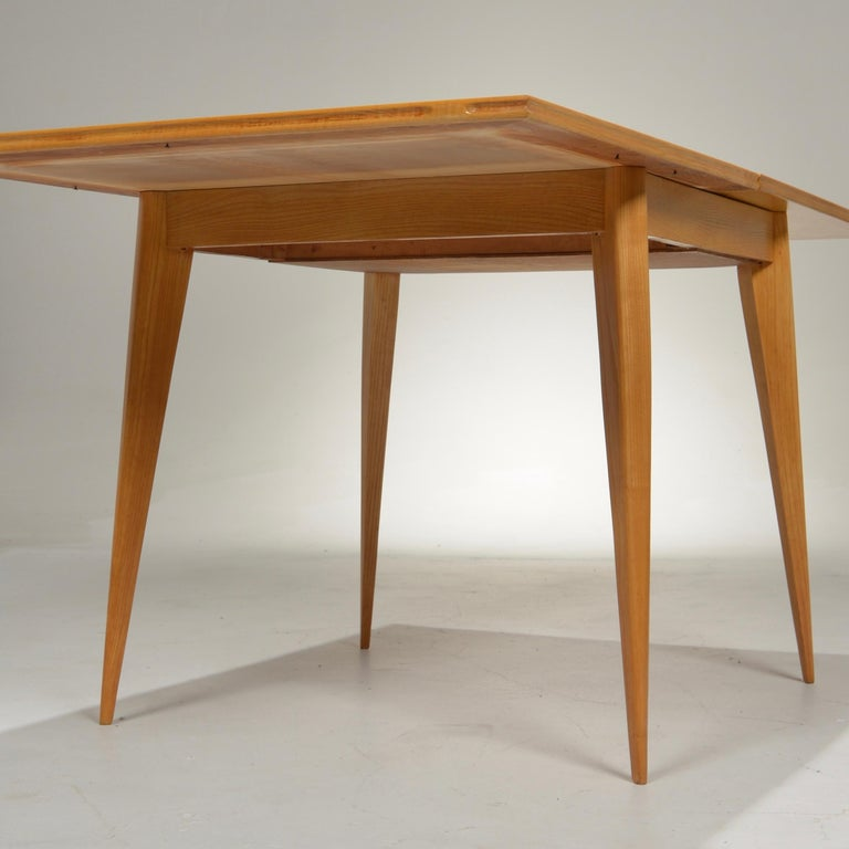 Restored French Mid-Century Modern Flip-Top Oak Dining Table For Sale 3
