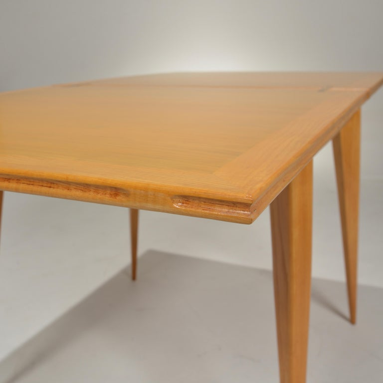 Restored French Mid-Century Modern Flip-Top Oak Dining Table For Sale 4