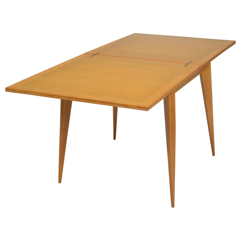 Restored French Mid-Century Modern Flip-Top Oak Dining Table For Sale