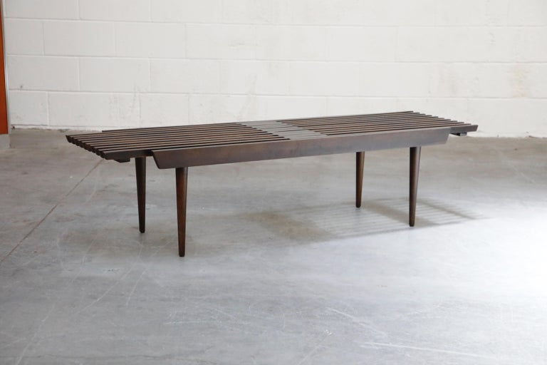 Restored George Nelson Style Expandable Slatted Wood Bench or Table, circa 1960 For Sale 4