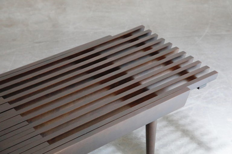 Restored George Nelson Style Expandable Slatted Wood Bench or Table, circa 1960 For Sale 6