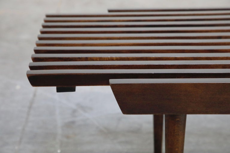Restored George Nelson Style Expandable Slatted Wood Bench or Table, circa 1960 For Sale 7