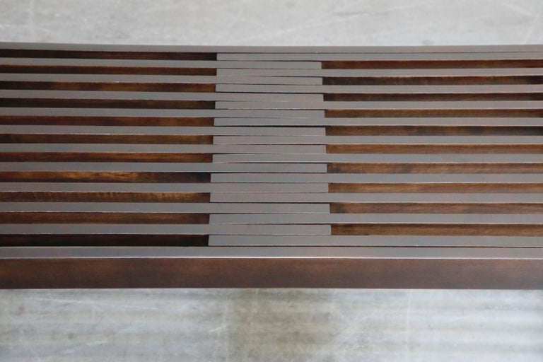 Restored George Nelson Style Expandable Slatted Wood Bench or Table, circa 1960 For Sale 8