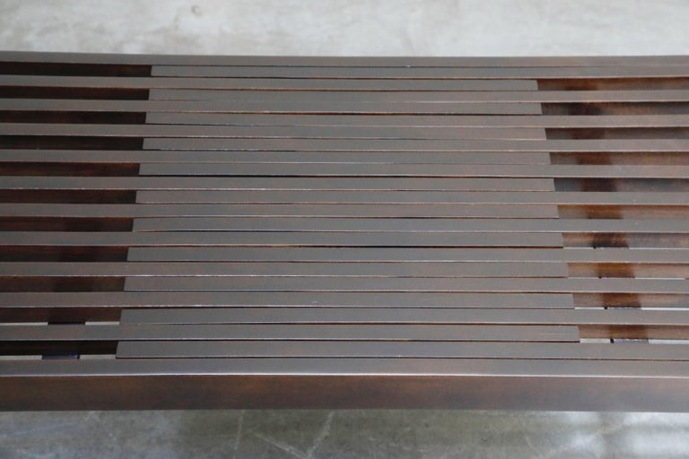 Restored George Nelson Style Expandable Slatted Wood Bench or Table, circa 1960 For Sale 9