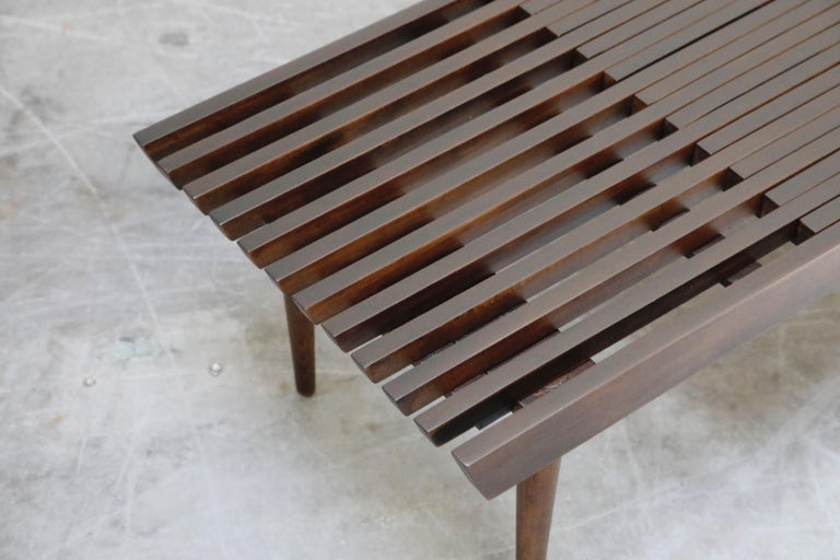 Restored George Nelson Style Expandable Slatted Wood Bench or Table, circa 1960 For Sale 12