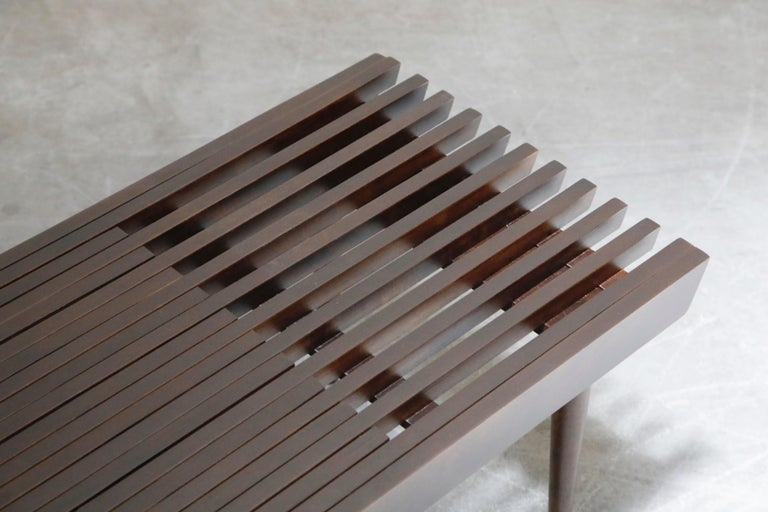 Restored George Nelson Style Expandable Slatted Wood Bench or Table, circa 1960 For Sale 13