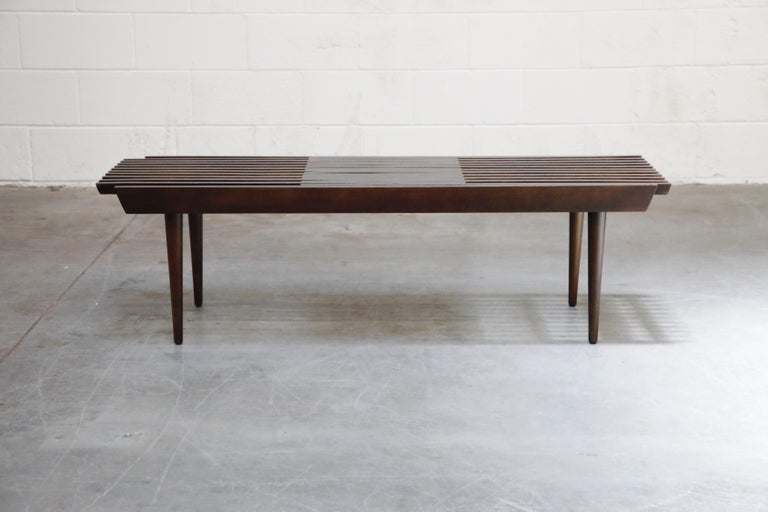 Mid-Century Modern Restored George Nelson Style Expandable Slatted Wood Bench or Table, circa 1960 For Sale