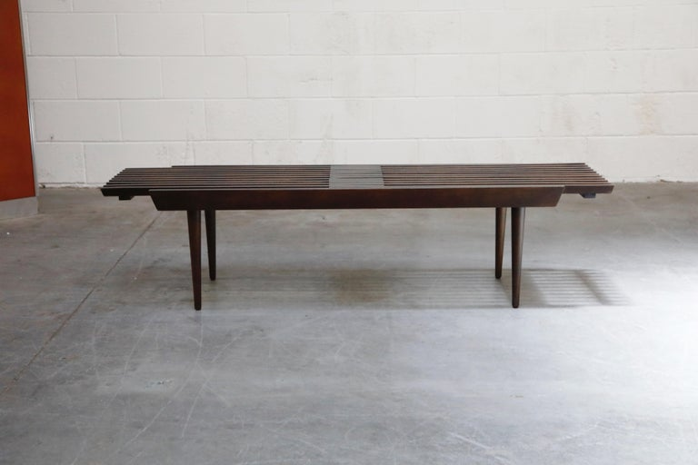 American Restored George Nelson Style Expandable Slatted Wood Bench or Table, circa 1960 For Sale