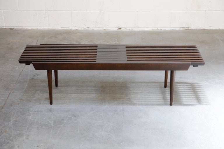 Restored George Nelson Style Expandable Slatted Wood Bench or Table, circa 1960 In Excellent Condition For Sale In Los Angeles, CA