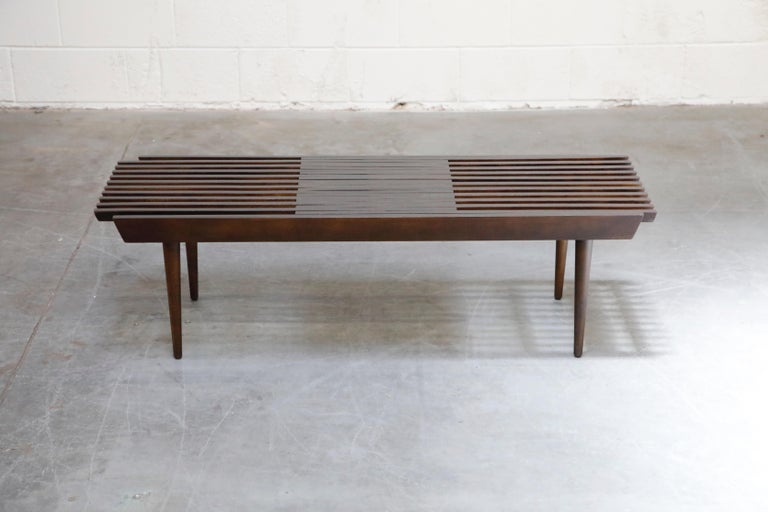 Mid-20th Century Restored George Nelson Style Expandable Slatted Wood Bench or Table, circa 1960 For Sale