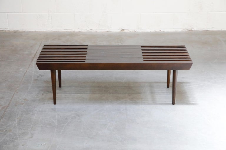 Restored George Nelson Style Expandable Slatted Wood Bench or Table, circa 1960 For Sale 1