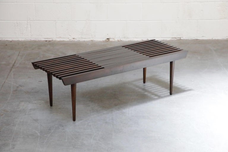 Restored George Nelson Style Expandable Slatted Wood Bench or Table, circa 1960 For Sale 2