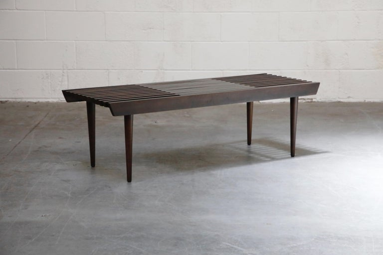 Restored George Nelson Style Expandable Slatted Wood Bench or Table, circa 1960 For Sale 3