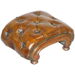 Restored Georgian circa 1780 Fully Restored Brown Leather Chesterfield Footstool
