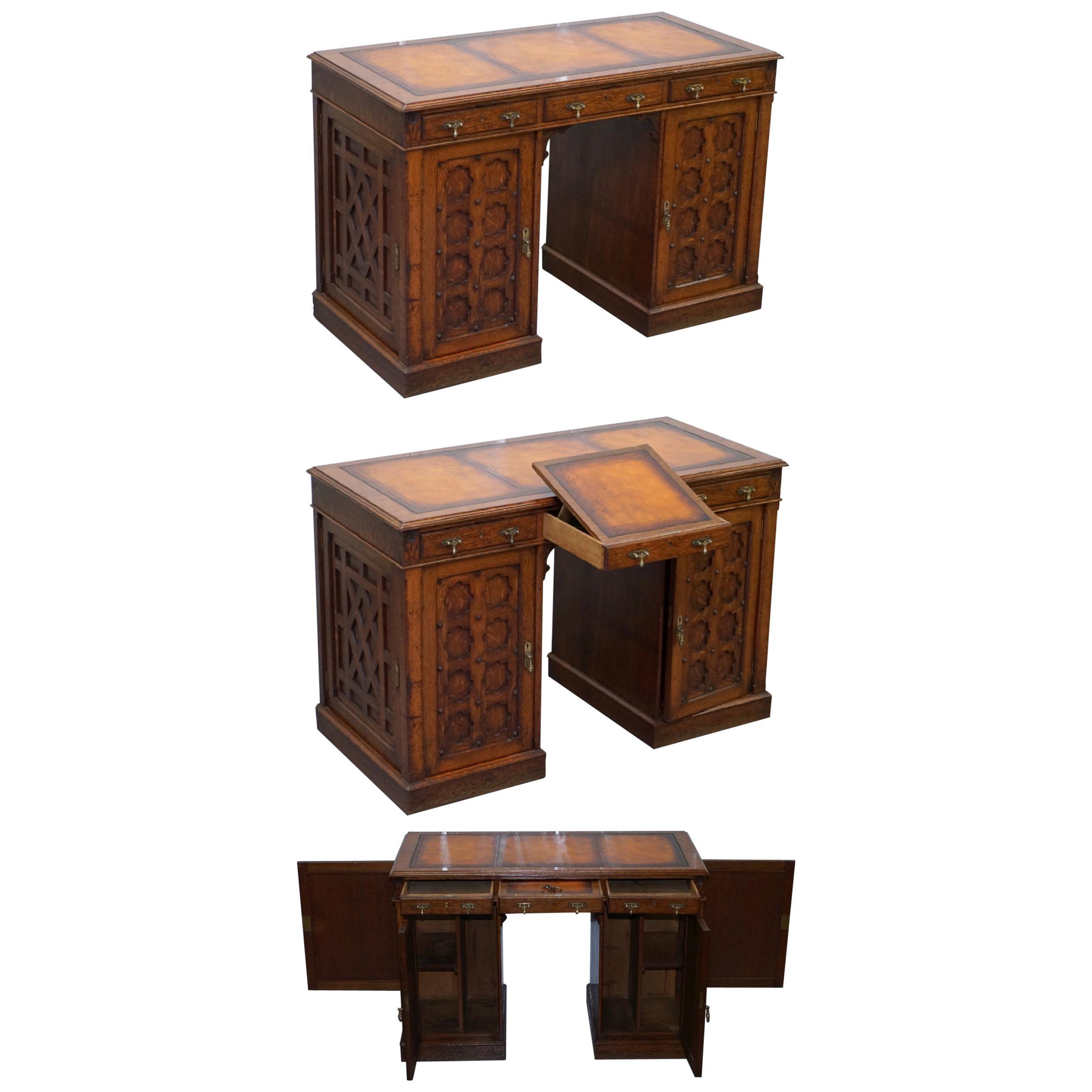 Restored Gothic Revival Desk Side Bookcases Drawer Writing Slope Pugin Gillows