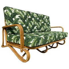 "Restored ""Hairpin"" Leg Rattan 2-Strand 3-Seat Sofa with Bent Pole Arms"