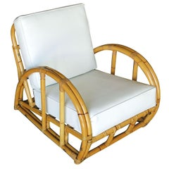 Restored Half Moon Rattan Two-Strand Lounge Chair