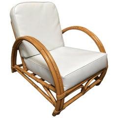 Restored Half Moon Two-Strand Rattan Lounge Chair