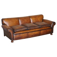 Restored Hand Dyed Brown Leather Antique Victorian 3-4 Seat Sofa Feather Seats