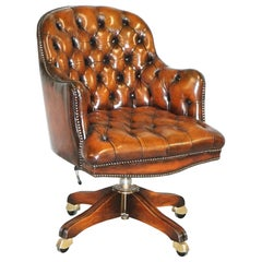 Restored Harrods Chesterfield Barrel Brown Leather Directors Captains Chair