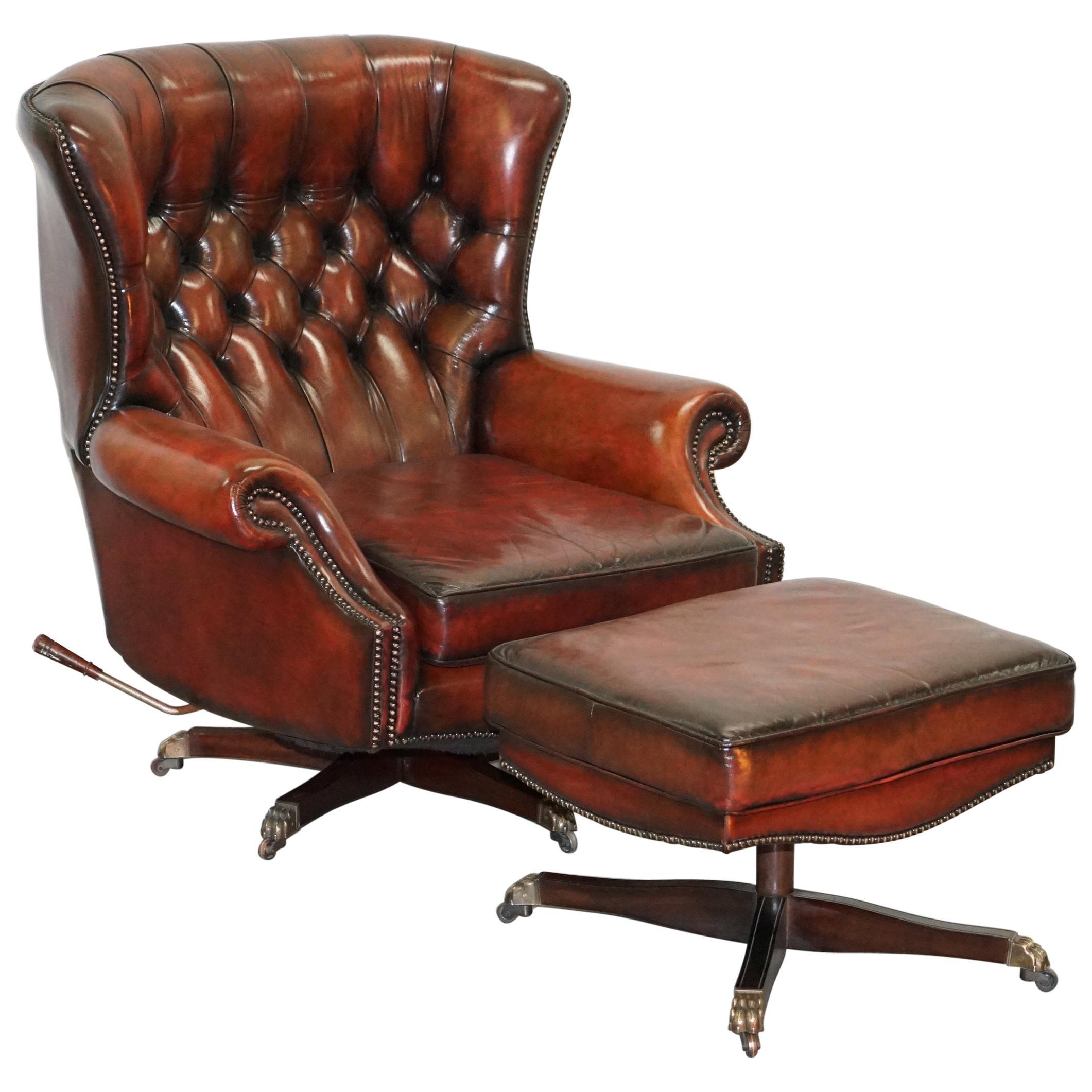 Restored Harrods London Brown Leather Chesterfield Swivel Armchair & Footstool