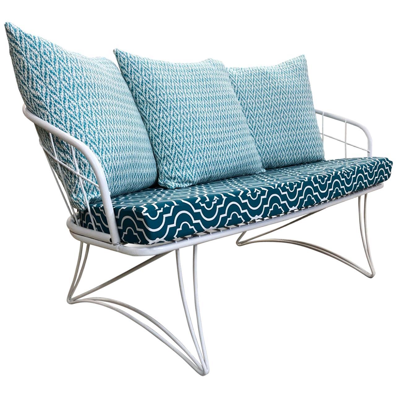 Restored Homecrest Mid-Century Modern Outdoor Patio Loveseat Sofa