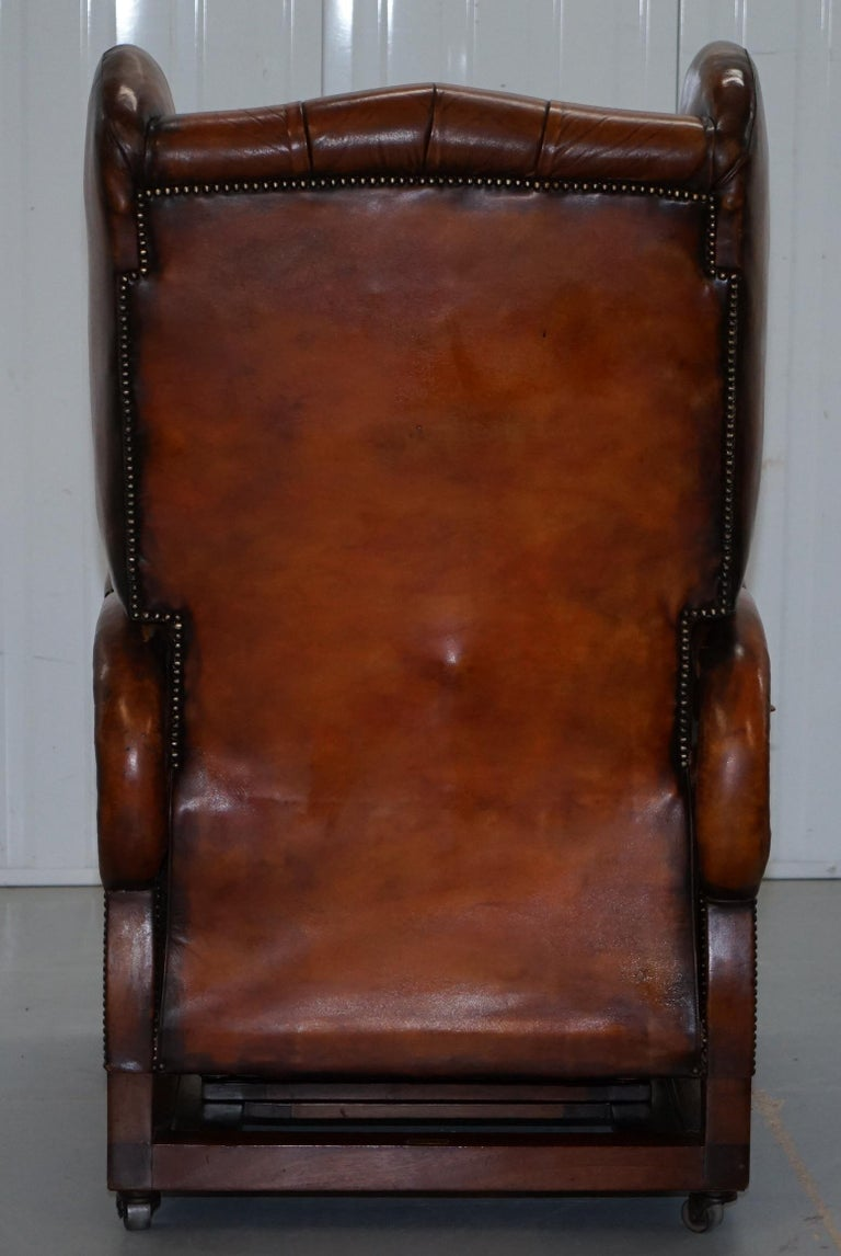 Restored J Foot & Son Adjustable Reclining Easy Armchair Hand Dyed Brown Leather For Sale 4