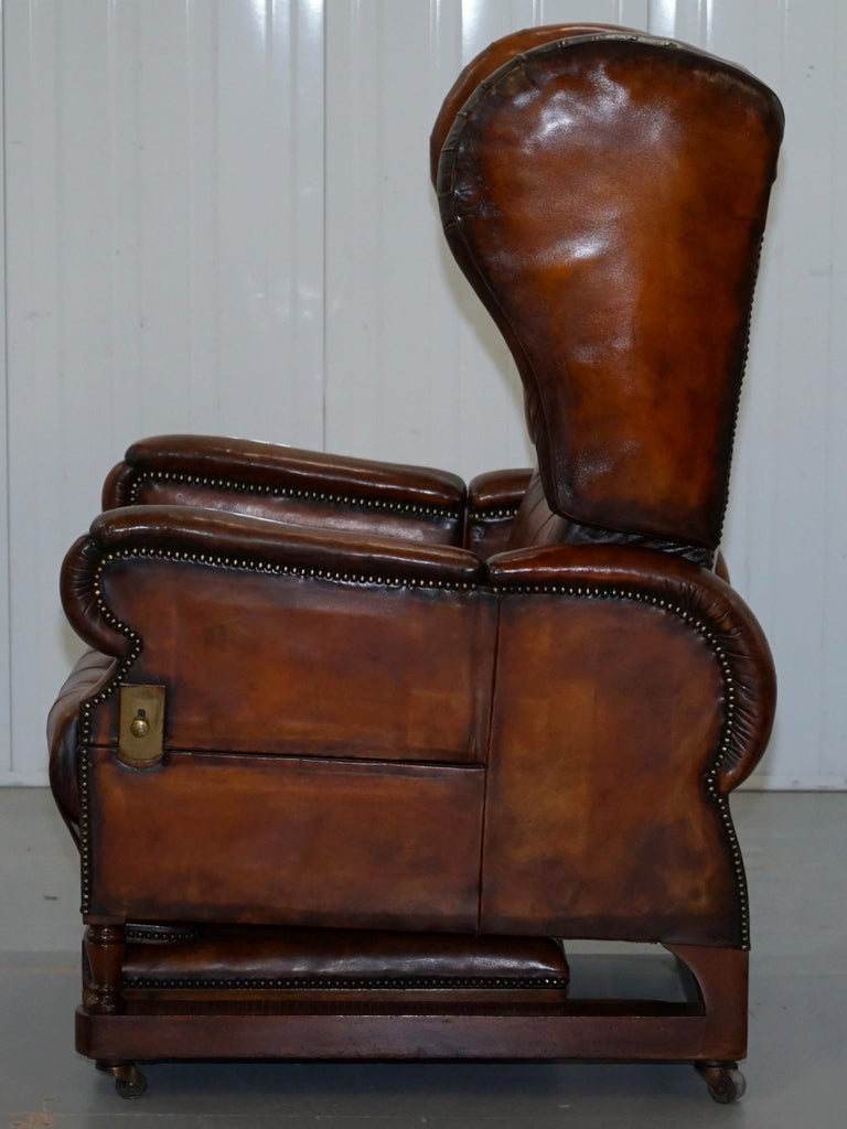 Restored J Foot & Son Adjustable Reclining Easy Armchair Hand Dyed Brown Leather For Sale 6