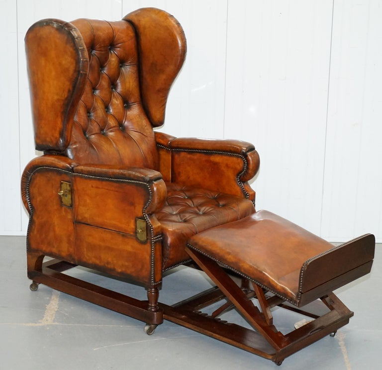 Restored J Foot & Son Adjustable Reclining Easy Armchair Hand Dyed Brown Leather For Sale 8