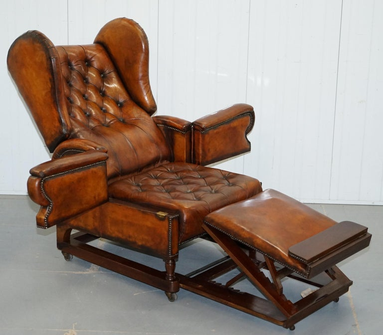 Restored J Foot & Son Adjustable Reclining Easy Armchair Hand Dyed Brown Leather For Sale 9