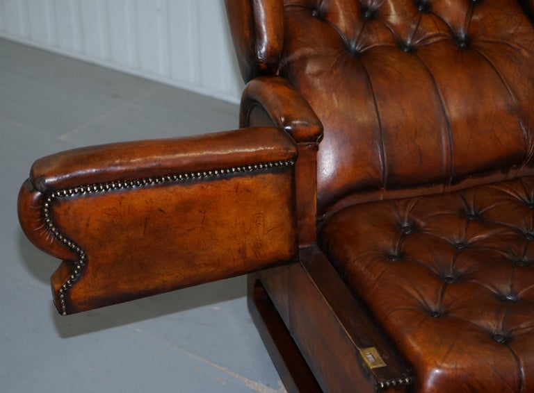 Restored J Foot & Son Adjustable Reclining Easy Armchair Hand Dyed Brown Leather For Sale 10