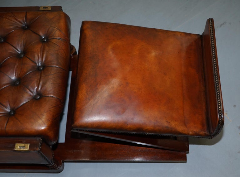 Restored J Foot & Son Adjustable Reclining Easy Armchair Hand Dyed Brown Leather For Sale 11