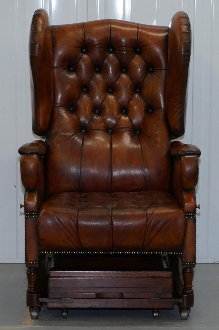 Wimbledon-Furniture  Wimbledon-Furniture is delighted to offer for sale this stunning original Victorian J Foot & Son easy armchair in fully restored condition with hand dyed brown leather  Please note the delivery fee listed is just a guide, it