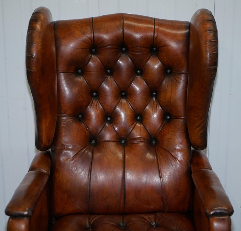 Victorian Restored J Foot & Son Adjustable Reclining Easy Armchair Hand Dyed Brown Leather For Sale