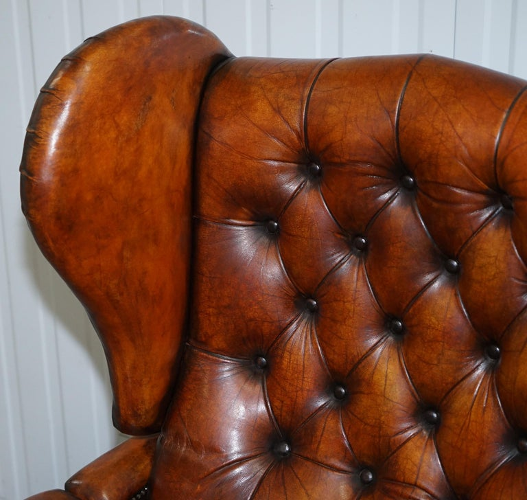 English Restored J Foot & Son Adjustable Reclining Easy Armchair Hand Dyed Brown Leather For Sale