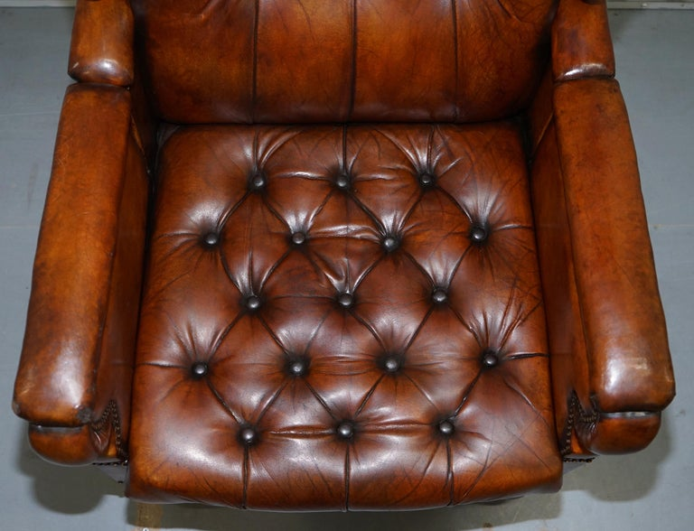 Restored J Foot & Son Adjustable Reclining Easy Armchair Hand Dyed Brown Leather In Good Condition For Sale In London, GB