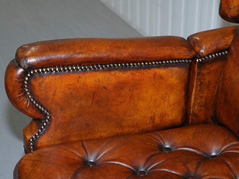 19th Century Restored J Foot & Son Adjustable Reclining Easy Armchair Hand Dyed Brown Leather For Sale