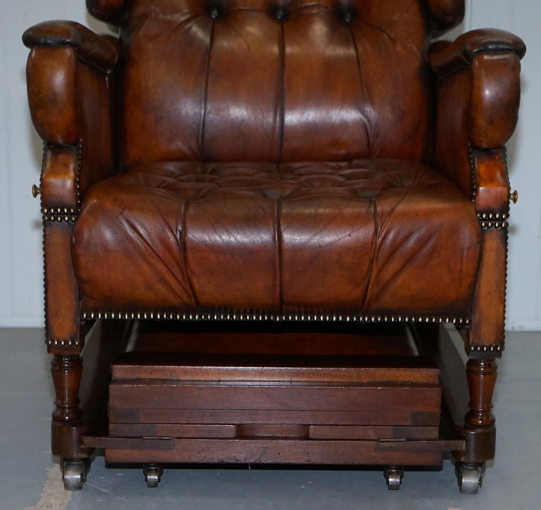 Restored J Foot & Son Adjustable Reclining Easy Armchair Hand Dyed Brown Leather For Sale 1