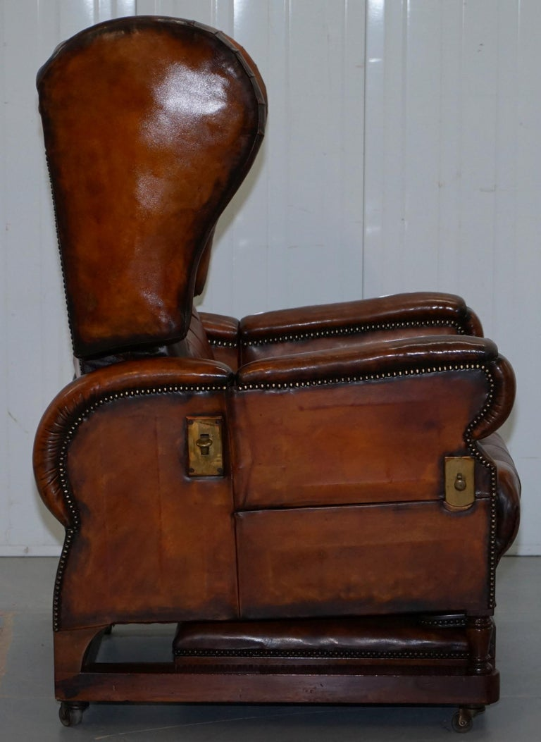 Restored J Foot & Son Adjustable Reclining Easy Armchair Hand Dyed Brown Leather For Sale 2