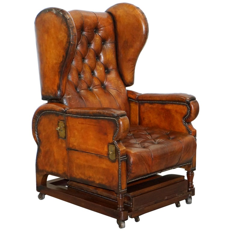 Restored J Foot & Son Adjustable Reclining Easy Armchair Hand Dyed Brown Leather For Sale
