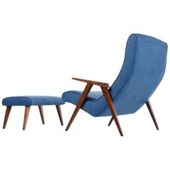 Restored Jens Risom Style Compass Leg Scoop Lounge Armchair and Ottoman, 1950s